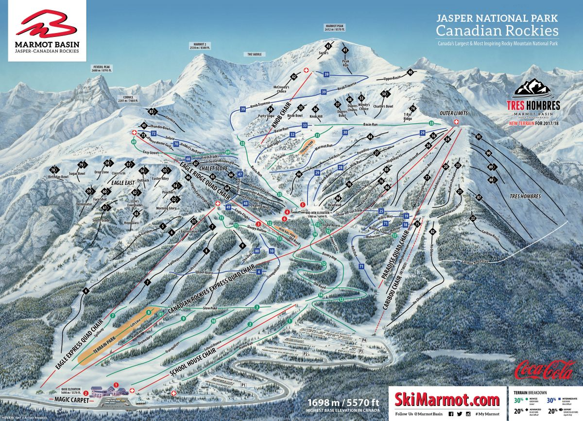 Pistenplan Marmot Basin - nach Kanada in den Skiurlaub